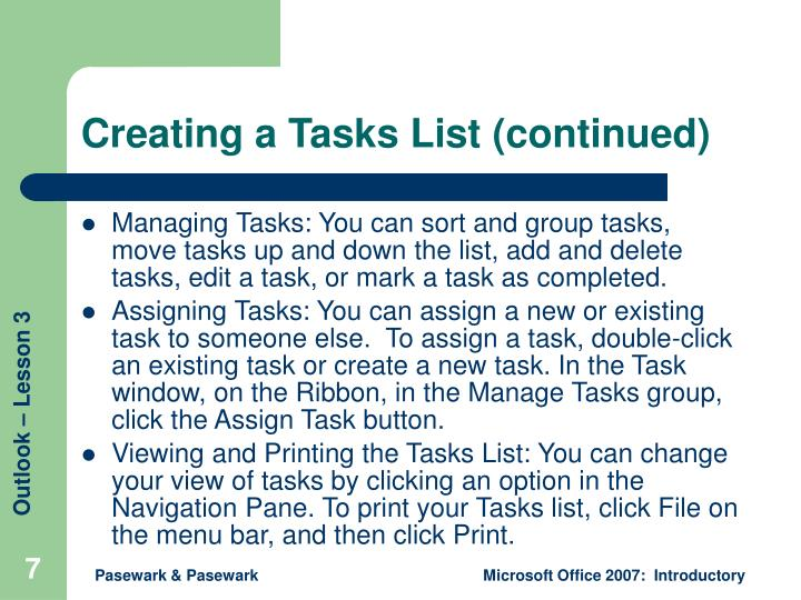 Creating a Tasks List (continued)