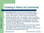 creating a tasks list continued