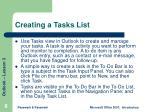 creating a tasks list