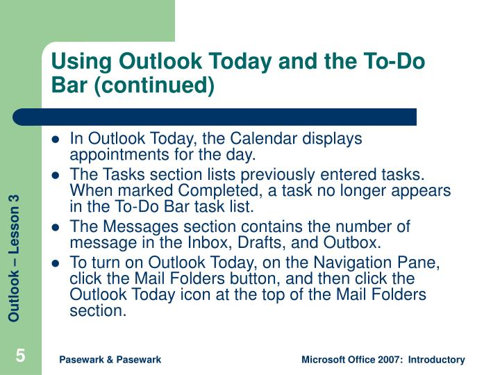 Using Outlook Today and the To-Do Bar (continued)