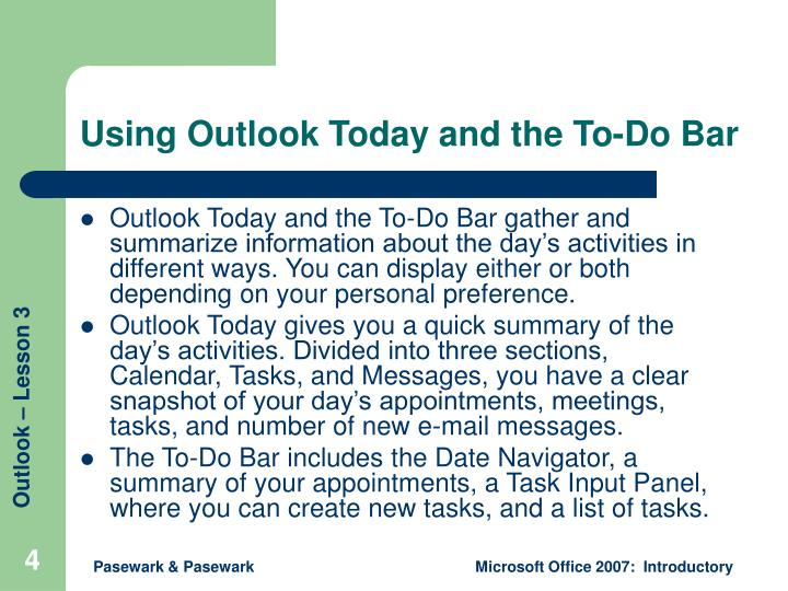 Using Outlook Today and the To-Do Bar