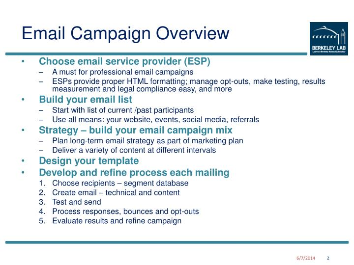 Email campaign overview