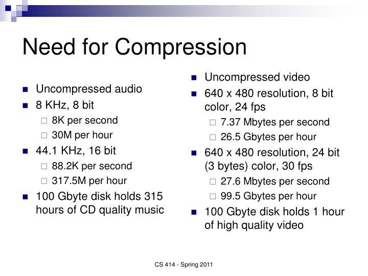 Uncompressed audio