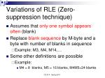 variations of rle zero suppression technique