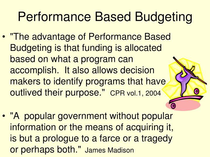 Performance Based Budgeting