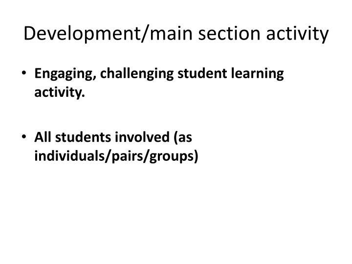 Development/main section activity