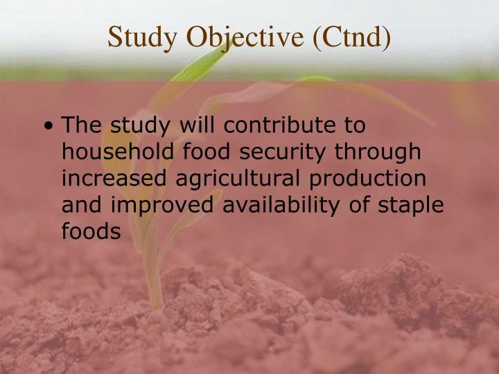 Study Objective (Ctnd)
