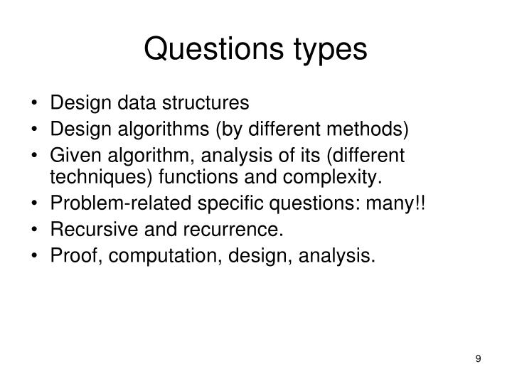 Questions types