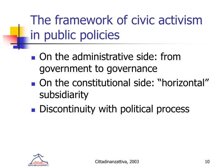 The framework of civic activism in public policies