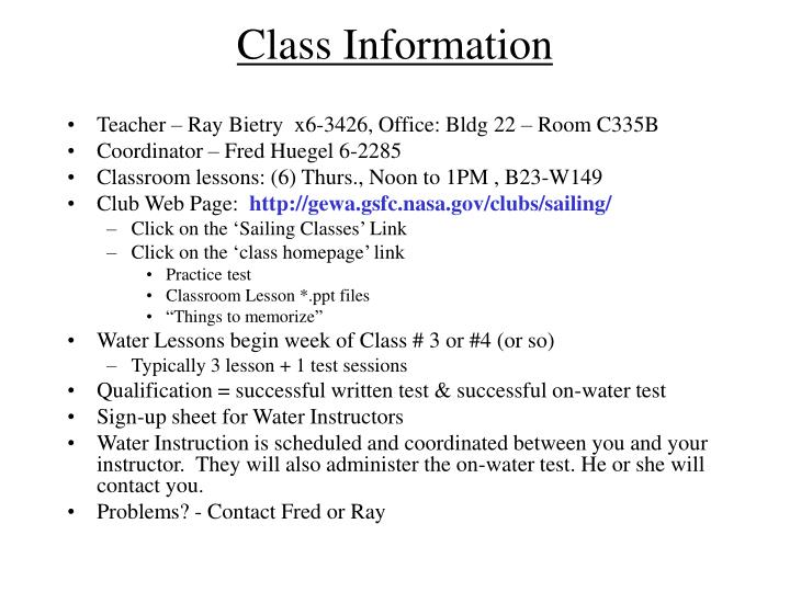 Class Information