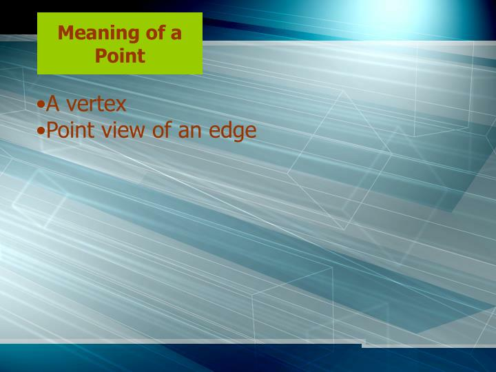 Meaning of a Point