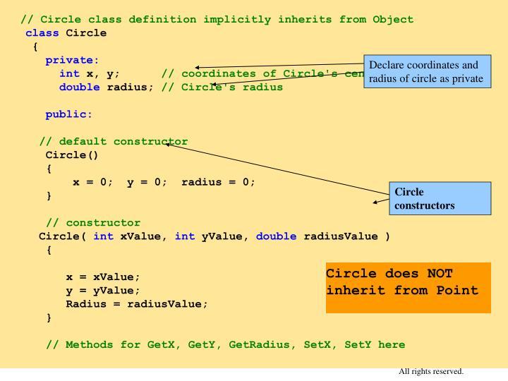 Declare coordinates and radius of circle as private