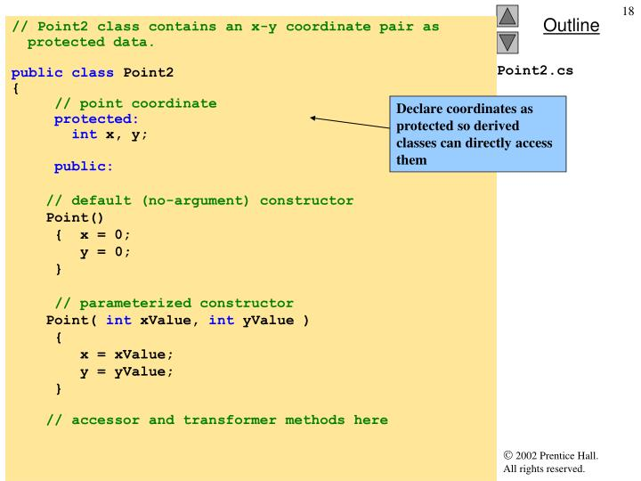 Declare coordinates as protected so derived classes can directly access them