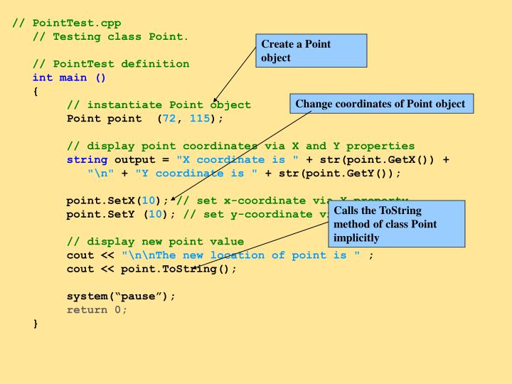Create a Point object