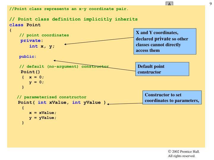X and Y coordinates, declared