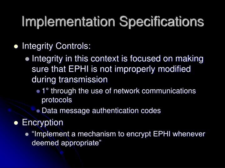 Implementation Specifications