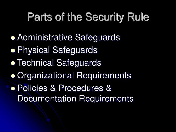 Parts of the Security Rule