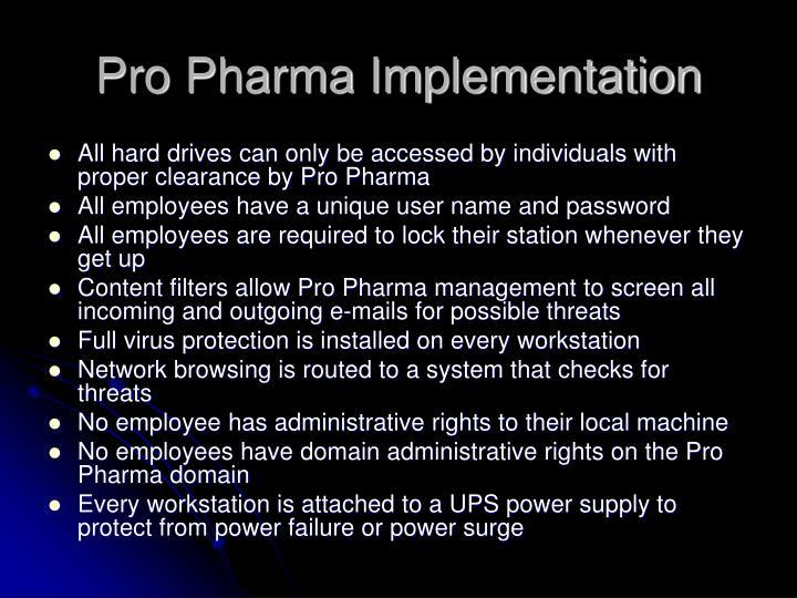 Pro Pharma Implementation