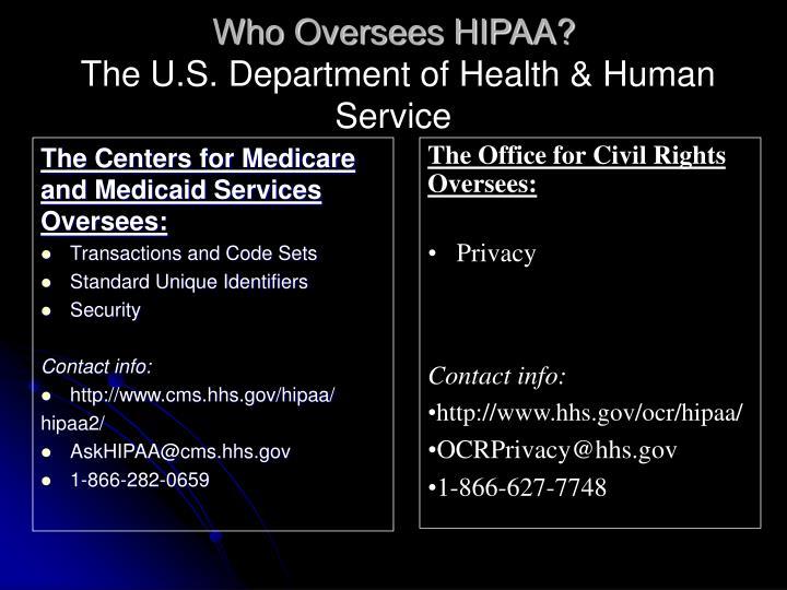 Who Oversees HIPAA?