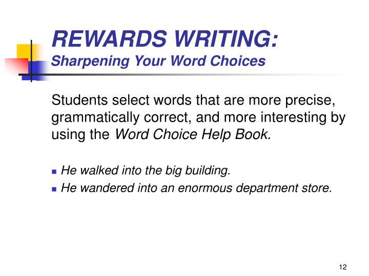 REWARDS WRITING: