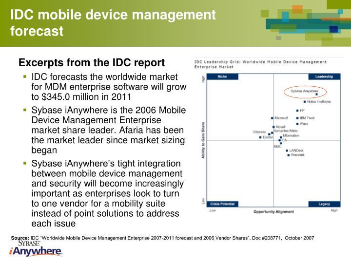 IDC mobile device management forecast