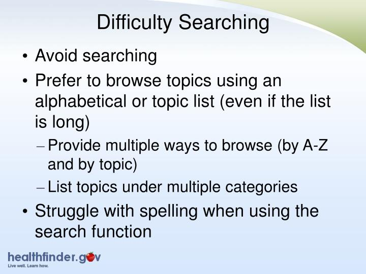 Difficulty Searching