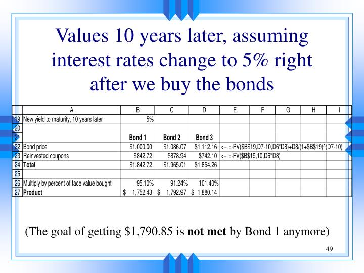 Values 10 years later, assuming interest rates change to 5% right after we buy the bonds