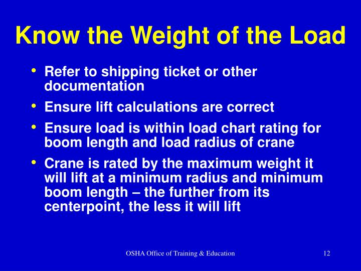 Know the Weight of the Load