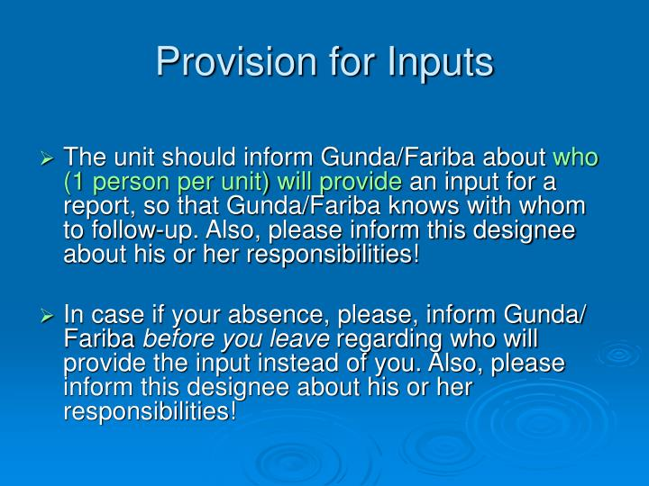 Provision for Inputs
