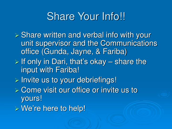 Share Your Info!!