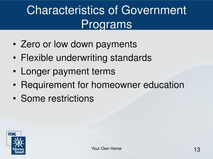 Characteristics of Government Programs