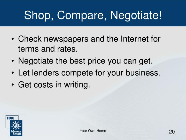 Shop, Compare, Negotiate!