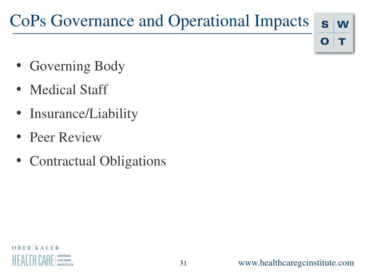 CoPs Governance and Operational Impacts