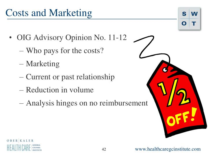 Costs and Marketing