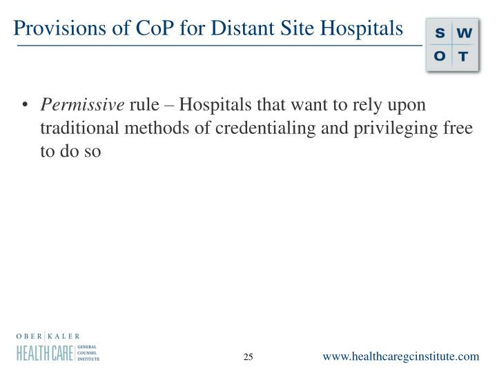 Provisions of CoP for Distant Site Hospitals