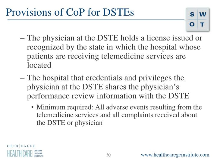 Provisions of CoP for DSTEs
