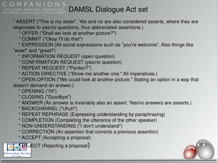 DAMSL Dialogue Act set
