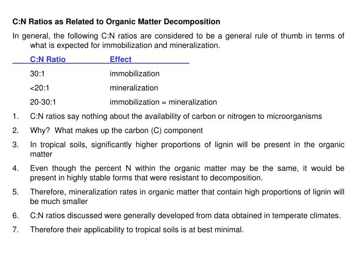 C:N Ratios as Related to Organic Matter Decomposition