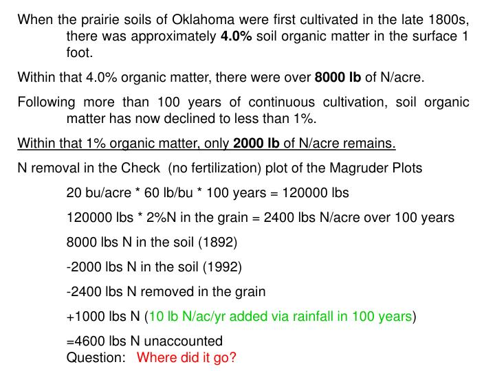 When the prairie soils of Oklahoma were first cultivated in the late 1800s, there was approximately