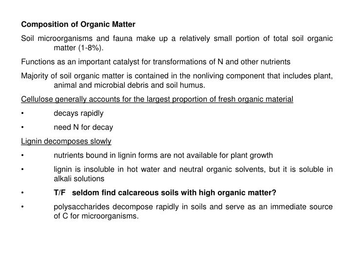 Composition of Organic Matter