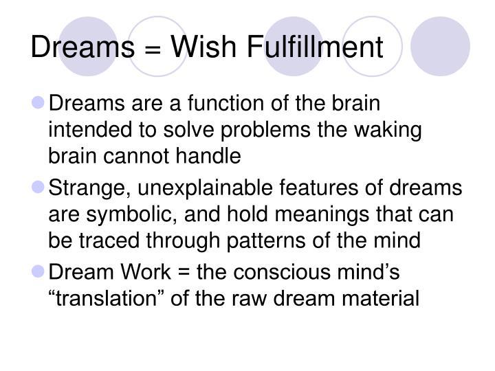 Dreams = Wish Fulfillment
