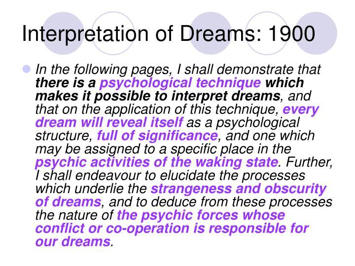 Interpretation of Dreams: 1900