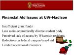 financial aid issues at uw madison