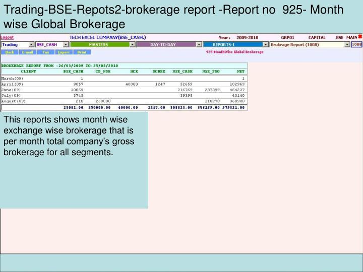 Trading-BSE-Repots2-brokerage report -Report no  925- Month wise Global Brokerage