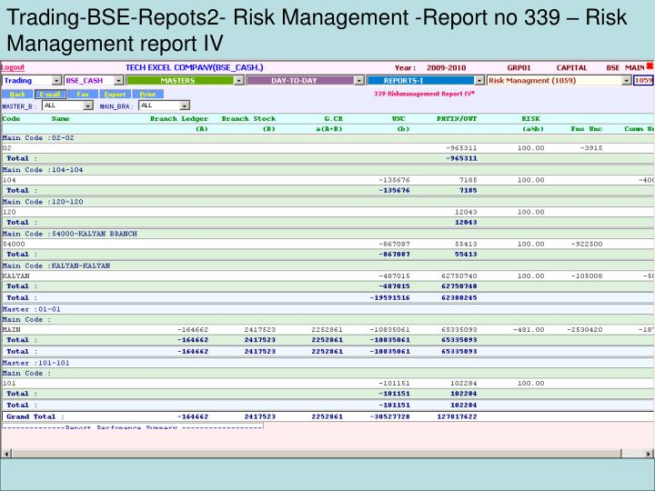 Trading-BSE-Repots2- Risk Management -Report no 339 – Risk Management report IV