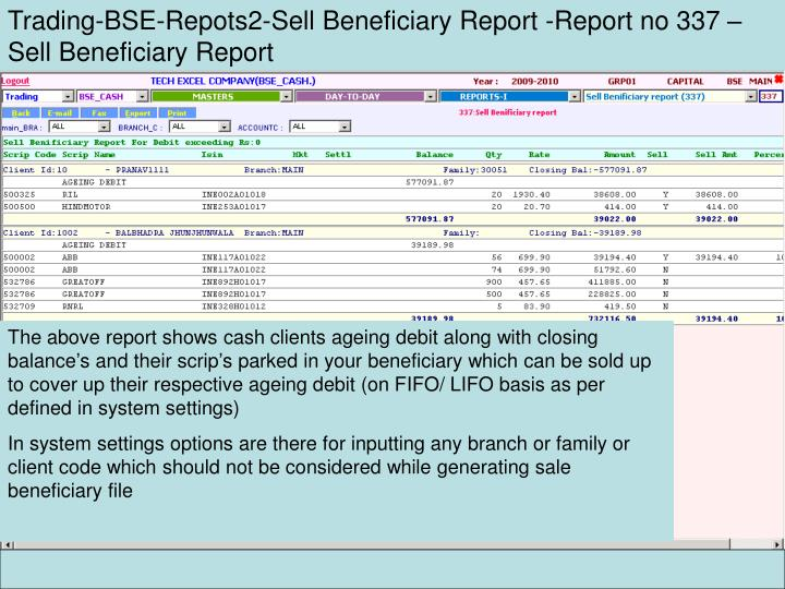 Trading-BSE-Repots2-Sell Beneficiary Report -Report no 337 – Sell Beneficiary Report