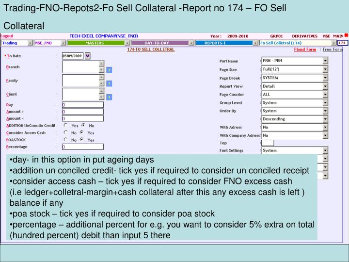 Trading-FNO-Repots2-Fo Sell Collateral -Report no 174 – FO Sell