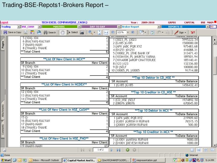 Trading-BSE-Repots1-Brokers Report –