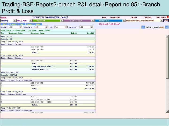 Trading-BSE-Repots2-branch P&L detail-Report no 851-Branch Profit & Loss