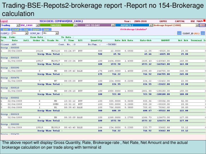 Trading-BSE-Repots2-brokerage report -Report no 154-Brokerage calculation